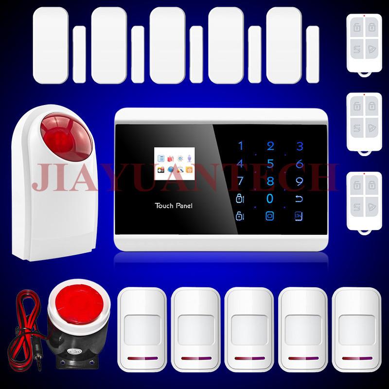 101 zones IOS Android APP controlled GSM PSTN Alarm System with magnet door sensor+ PIR detector, outdoor strobe siren alarm(China (Mainland))