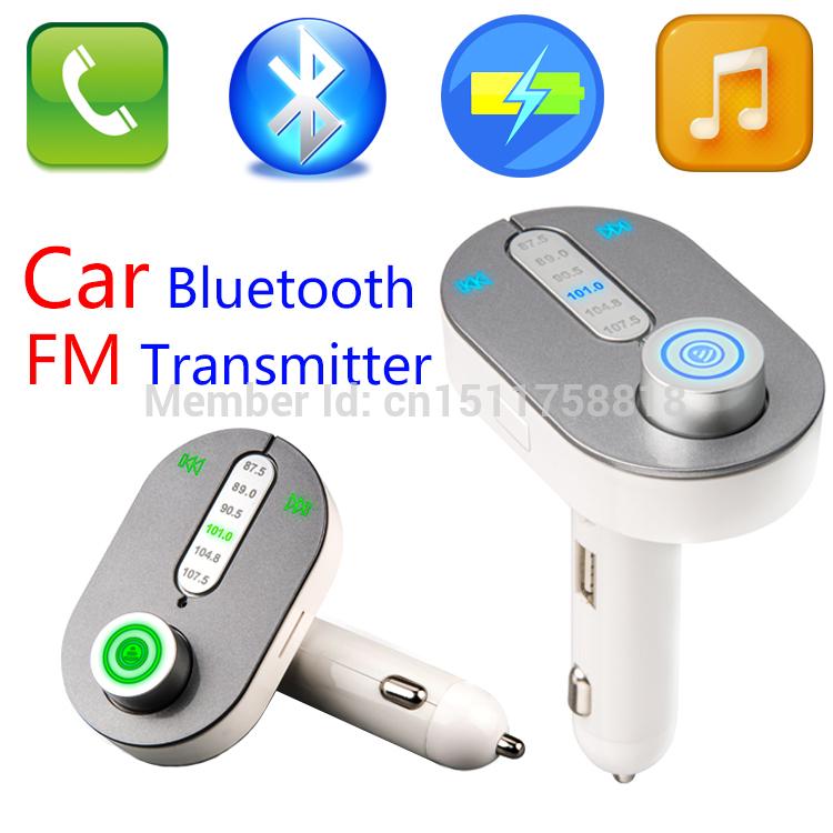 Free Shipping Wireless FM Transmitter Car Kit MP3 Music Player Bluetooth Handsfree Call Radio Modulator With USB TF MMC T9(China (Mainland))