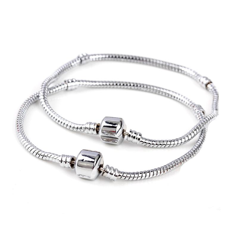 free shipping silver plated snake bracelet chain without logo fit pandora european charm bracelet LT002(China (Mainland))