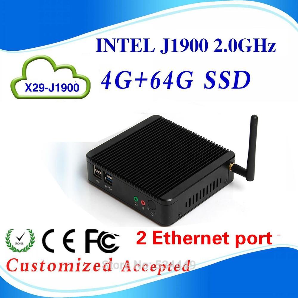 mini linux embedded pc mini pc computer mini pc intel X29 J1900 4g ram 64G SSD support 300M wifi(China (Mainland))