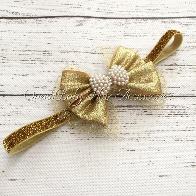 Retail 1pcs/lot Gold Hair Bow Matching Sparking Rhinestone Glitter Elastic Headband Baby Headband(China (Mainland))