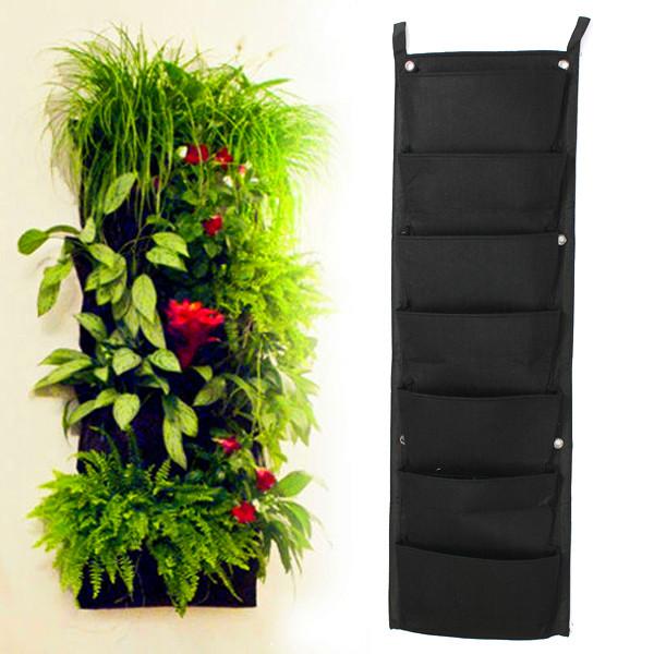 7-Pocket nouveau feutre 1 PC verticale extérieure jardinage Pots de fleurs et jardinières Pots suspendus jardinière sur le mur Green Field(China (Mainland))