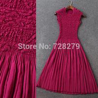 Fashion Women Clothing 2015 Spring Summer fashion tuck Pleated Elastic Plus size slim Summer DRESS Party Dress Sexy Free Size