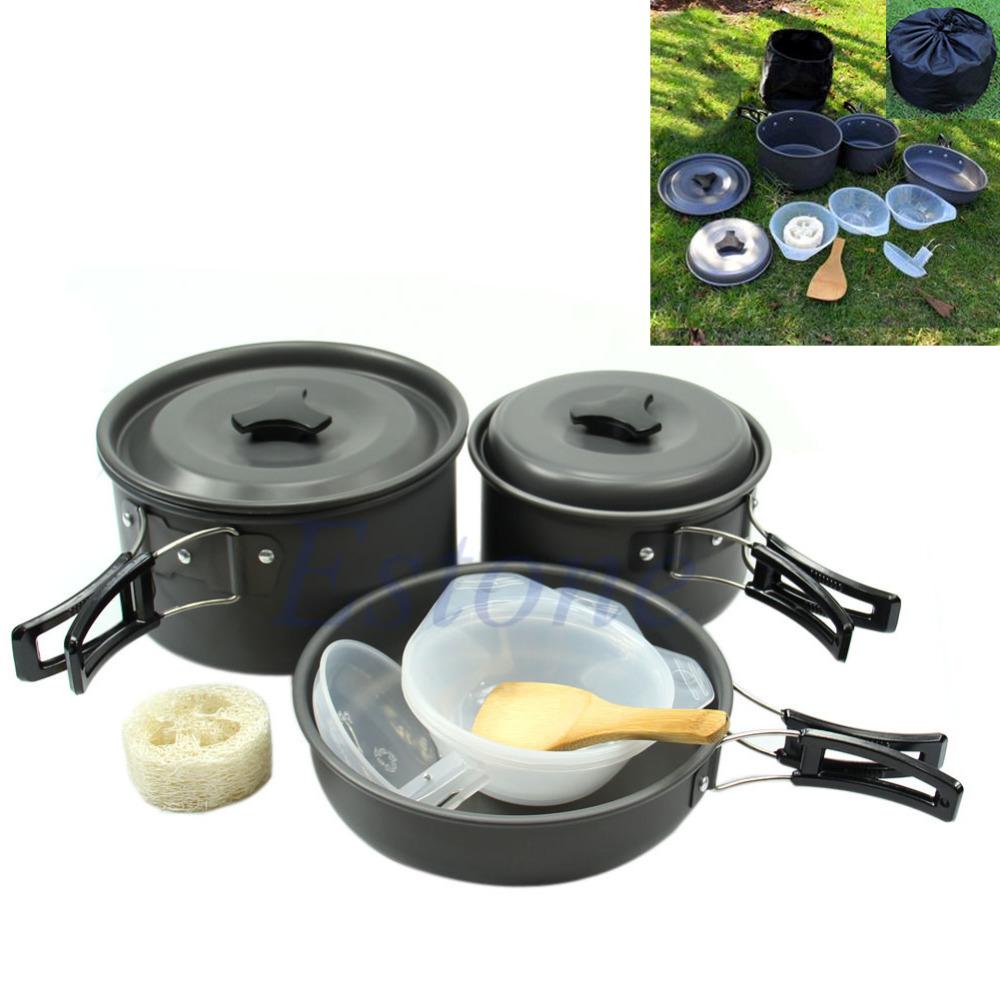 C18+11Pcs/set Outdoor Camping Hiking Cookware Backpacking Cooking Picnic Bowl Pot Pan Set(China (Mainland))