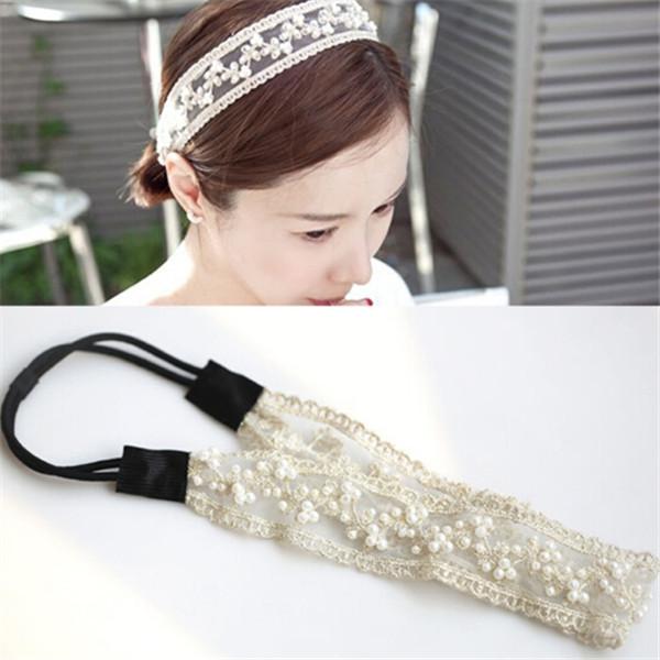 Fashion Lace Pearl Headband Black/Beige Cotton Hairband Yoga Sports Hair Accessories for Women Lady Headband 1pcs/lot(China (Mainland))