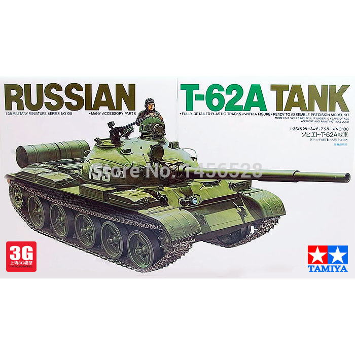 Tamiya scale model 1/35 scale tank 35108 RUSSIAN T-62A TANK assembly Model kits scale models building scale vehicle model kits(China (Mainland))