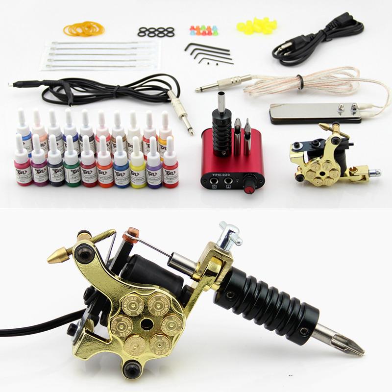 Complete Tattoo Kit Coils Machine Guns 20 Inks Needles Power Supply Grip Tip(China (Mainland))