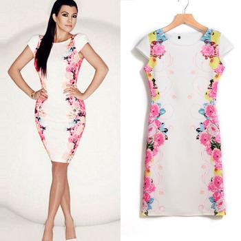 Feitong мода цветочный принт платье женщины бинты платье длиной до колен свободного покроя платье элегантный Vestido Большой размер бесплатная доставка
