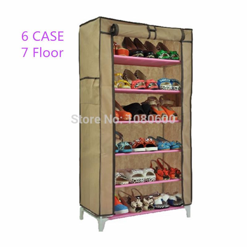 Stainless steel tube foldable organizer 6-Tier footware Storage Holders & Racks Shoes Hanger Shoe Rack(China (Mainland))