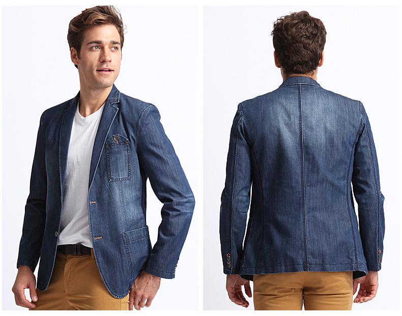 Свободного покроя блейзеры мужчины куртки приталенный fit блейзеры мужчины вилочная часть деним синий пиджак ну вечеринку платье одежда m-xxxl