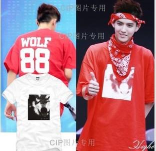 EXO XOXO WOLF printed 2014 Spring New Tide Brand street Hip Hop Tee Shirts Cotton Short Sleeve t-Shirt Men/Womem Tshirt t Shirt(China (Mainland))