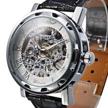 WINNER Fashion Faux Leather Mechanical Watch Men's Decoration Watch Black Band STEAMPUNK Skeleton Man Mechanical Watches