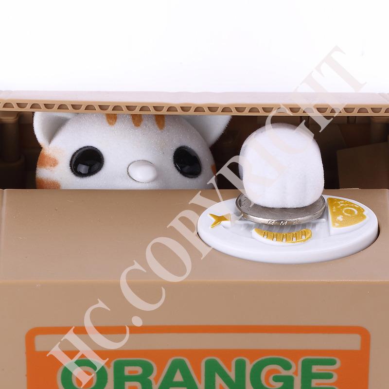 New Mechanical Automated White Cat Animal Smart Stealing Coin Bank Itazura Save Box Money Automated Saving Box Pot Case Bank(China (Mainland))