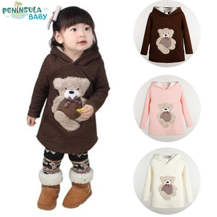 Hot Sale Girls Tops Full Sleeve Sweatshirts Girl's Hoodies Children Outfits Girls Bear Jumper 100% Cotton LT94(China (Mainland))