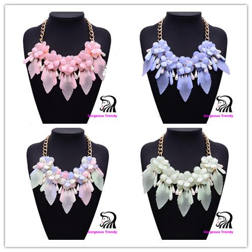 Spring Hot Magazine Modle Gorgeous Luxury Acrylic Beads Flower Alloy Chokers Necklace Collar Pendant Fashion Women Flow Jewelry(China (Mainland))
