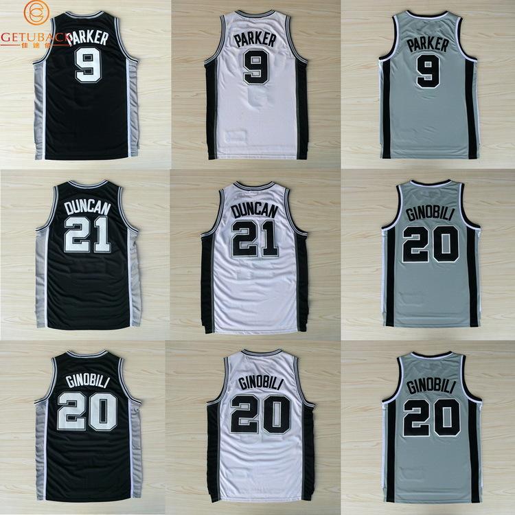 2015 NEW St Anthony Tony Parker #9 Tim Duncan #21 Manu Ginobili #20 Basketball jersey & shorts Embroidery logo jerseys NA106(China (Mainland))