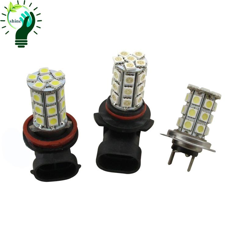 12V LED Car H7/H8/H11/9005/9006 27SMD 5050 Fog Light Auto Headlight Bulbs 3.6W White Blue Red Yellow Lamp Daytime Running Light(China (Mainland))