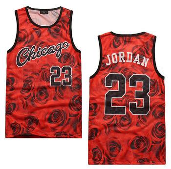 New 2015 Men's Summer Tank Tops 3D Print Rose Floral Chicago Jordan 23 Basketball Vest Fit Slim Jersey Sleeveless Tee Shirts(China (Mainland))