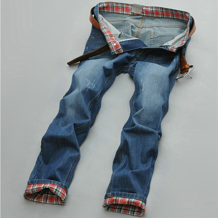 Large Size 28-38 Men's Denim Jeans Brand Male Straight High Quality Blue Jeans Pants Men Cotton Designer Men Jeans 2015 New(China (Mainland))