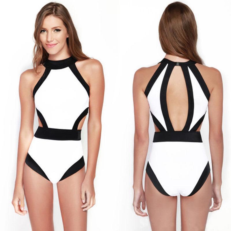 2015 new black white one piece bathing suit push up monokini bandage swimsuit hang neck swimwear high waist cut out bodysuit(China (Mainland))