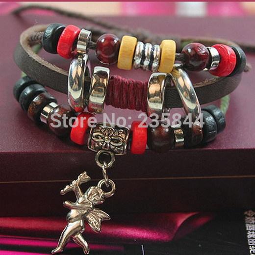 A20 1pcs Fashion Leather Cute Infinity Charm Cupid Wrap Multilayer Bracelet H6842 P