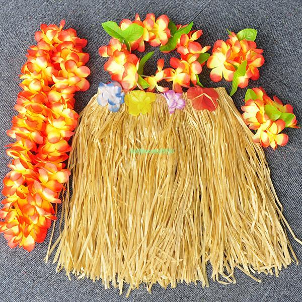 Havaiana saia de grama Lei conjunto pulseira colar tiara guirlanda Leis Set ES3094(China (Mainland))