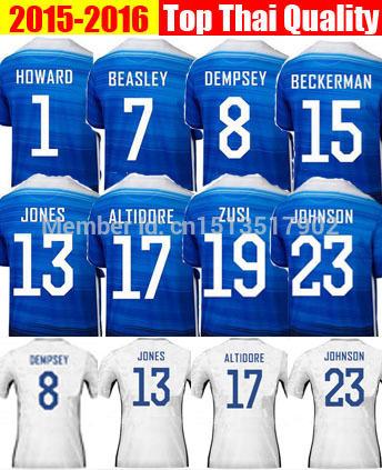 New 2016 Soccer Jersey BRADLEY DEMPSEY JONES JOHNSON HOWARD USA Home White Away Blue 15 16 Football Shirt 2015 Camisas Maillot(China (Mainland))