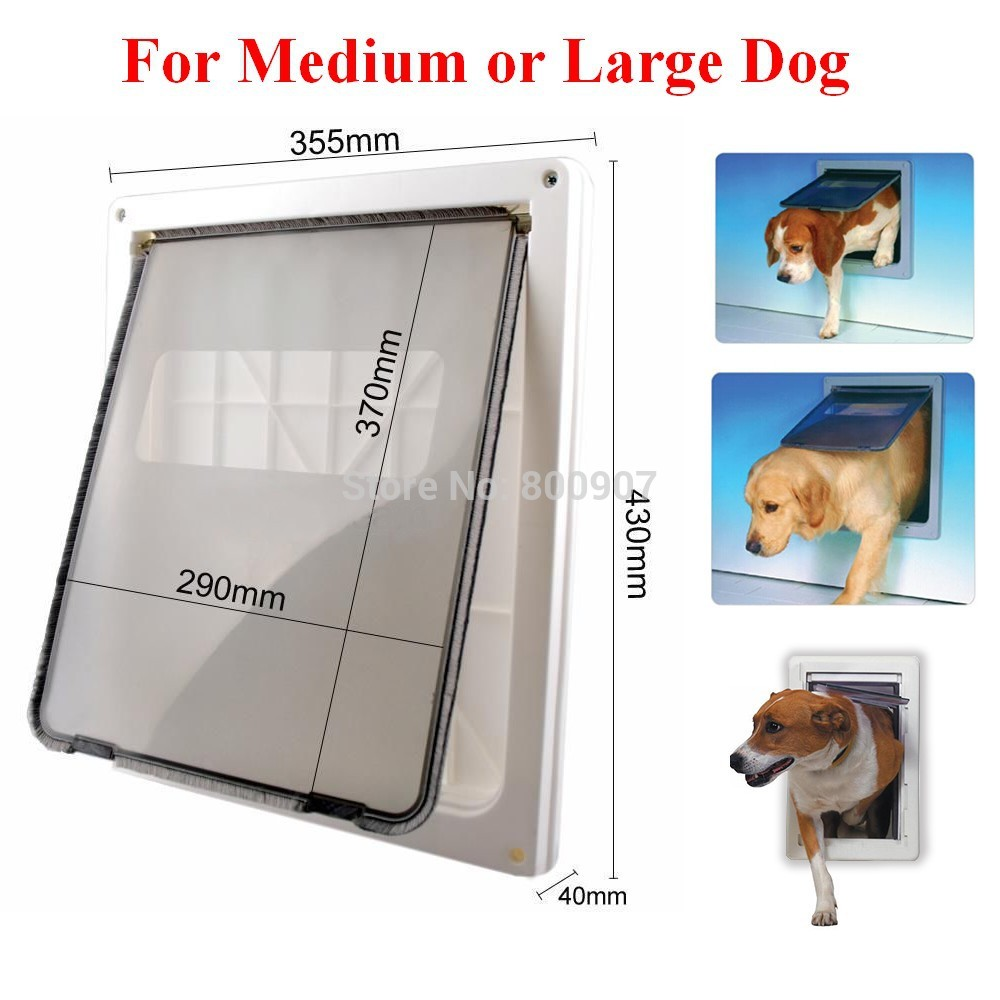 ABS Plastic White Safe Pet Door for Large Medium Dog Freely In and Out Home Gate Animal Pet Cat Dog Door ASAF(China (Mainland))