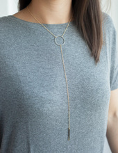 Fashion Gold Plated Thin Chain Round Circle Simple Necklace Long Tassel Bar Pendant Necklaces Sexy Women