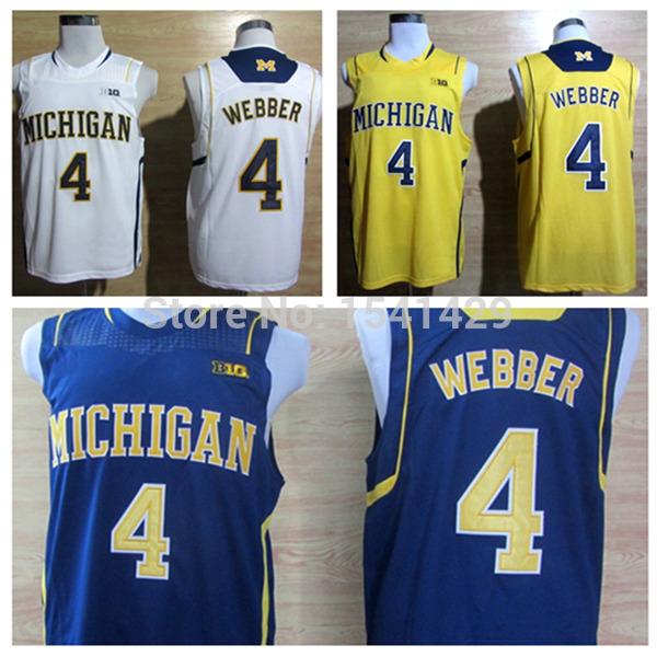NCAA Michigan University Wolverines Chris Webber 4 Blue White Yellow Big 10 Patch Cheap College Basketball Jersey, Size: S-3XL(China (Mainland))