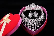 2015 new fashion Jewelry sets Korea cut out Bride Crown Bridal Necklace 3 PCS Marriage Accessories