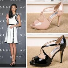 2015 New Arrival Top moda feminina gladiador Melissa europa e nos Jimmy peixe boca sapatos femininos sandálias loja de moda tamanho(China (Mainland))