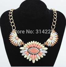 Hot Sell New Fashion Vintage Pendant Necklace Ethnic Flower Shape Imitation Rhinestone Necklace Collar Choker Necklace For Women(China (Mainland))