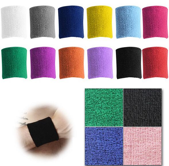 5 PCS Sweatbands Terry Cloth Cotton Wrist Sweat Band Wristband Sport/Yoga/Workout/Running Women Men Wrist Support 5 Color GM206(China (Mainland))