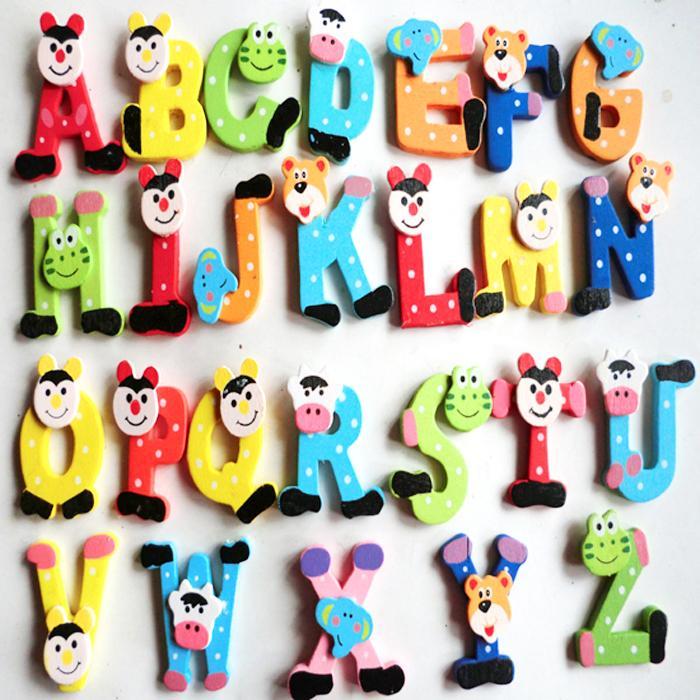 2015 Hot toy Cute 26pcs/Lot Wooden Cartoon Alphabet A-Z Magnets ...