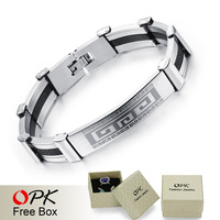 OPK Cool Man Silicone + Steel Bracelets Classical The Great Wall Design Stainless Steel 22CM Long Bangles Men Jewelry PH937