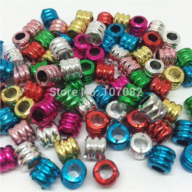Free Shipping 1000pcs 7x7mm Metallic Holographic Pony Beads Novelty School Craft Kandi Raver Dummy Loom Hair Accesories Bead(China (Mainland))
