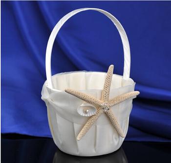 2015 Beach Themed Starfish Design Ivory Satin Flower Girl Basket for weeding decoration Wedding Ceremony Accessories AE02832