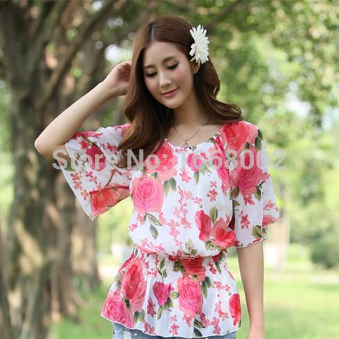 Large size High-quality 2015 brand women chiffon blouses slim Korean Elastic waist Floral print Flare sleeve casual ladies tops(China (Mainland))