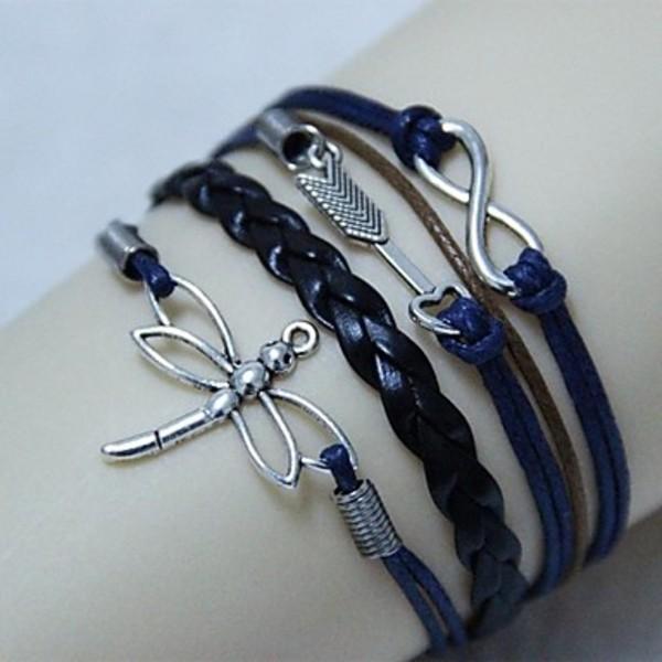 EastSun Vintage Cupid dragonfly 8 18cm Unisex Leather Wrap Bracelet 1 Pc
