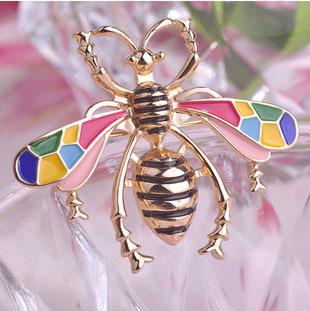 Colorful enamel beetle/bee/abelha/ brooch/new 2015 korean luxury elegant jewelry strass broche women accessories wholesale/gift(China (Mainland))