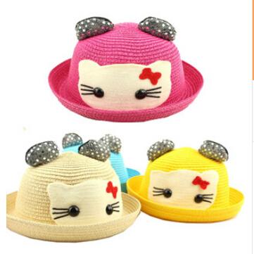 children sun hats caps 2015 new summer baby boys girls sun hats cartoon cute bow sunbonnet caps for boys girls(China (Mainland))