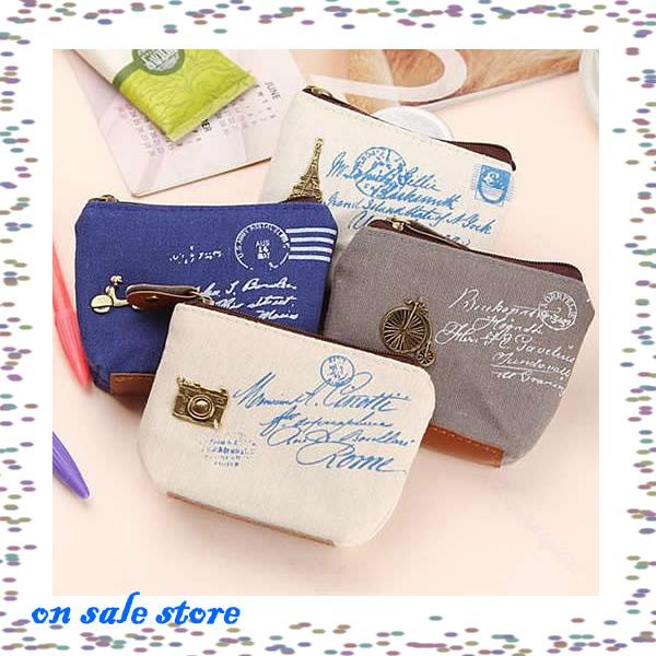 New 4pcs/lot Fashion Zipper Canvas Coin Bag Key Wallet Burse Cartoon Fabric Cotton Purse(China (Mainland))