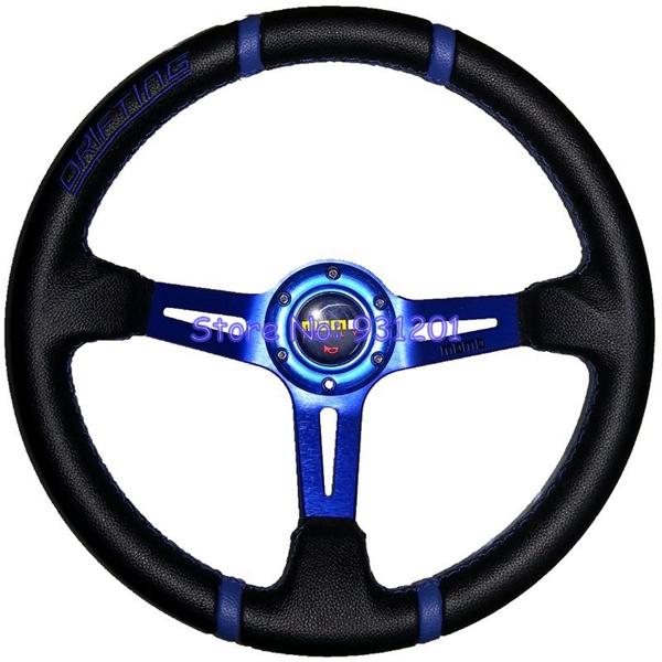 Racing Auto MOMO Drifting Steering Wheel 14inch PVC MOMO Steering Wheel Blue Frame(China (Mainland))