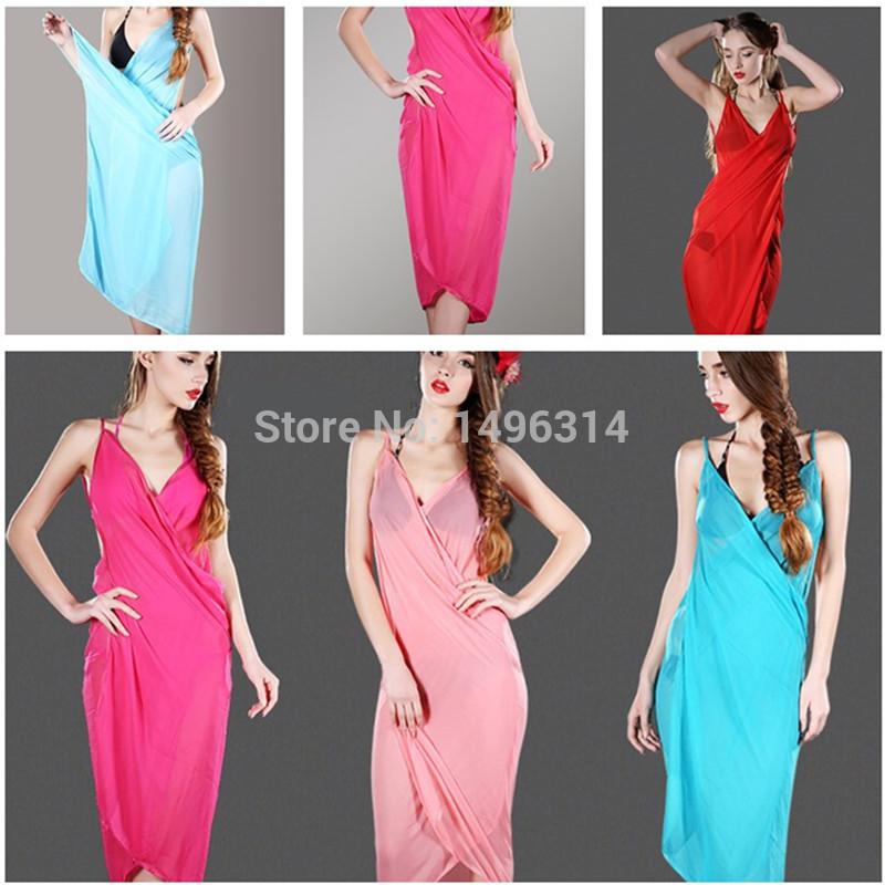 5PCS/Lot Mix Color Women Silk Chiffon Beach Scarf 2 in 1 Sexy Ladies Summer Swimming Skirt Bikini Cover Up Beach Towel Shawl(China (Mainland))