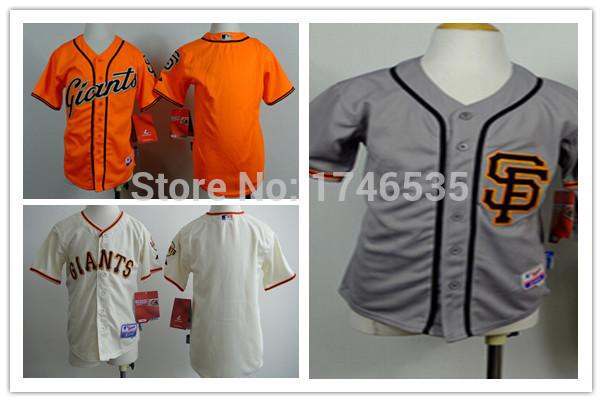 Free Shipping San Francisco Giants Blank No Name Jersey Kids Youth Throwback MLB Baseball Jersey Cream Grey Orange Stitched Logo(China (Mainland))