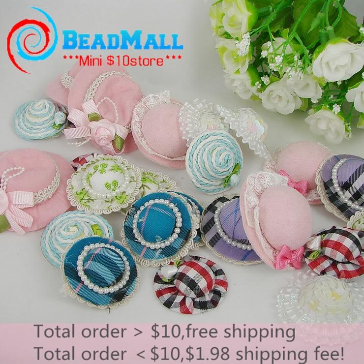 Min order $10 Hotting Selling 37-55mm 24pcs Handmade Mini cute hat DIY Headband Mix color Hair accessories Factory price 110010(China (Mainland))