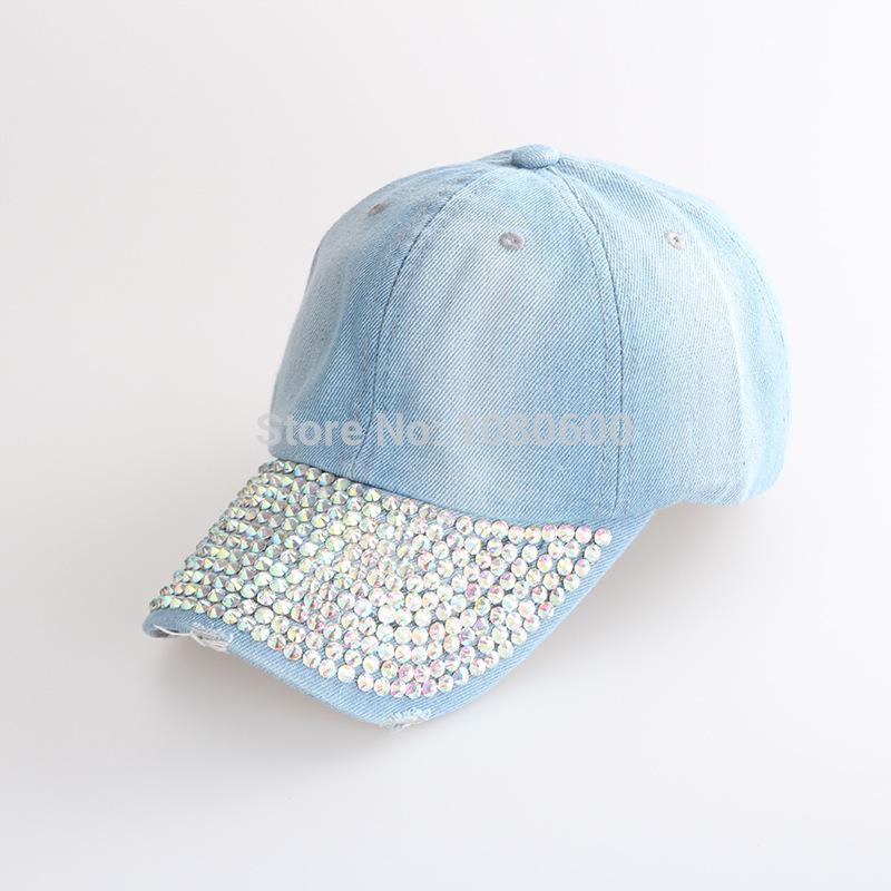 2015LGC05 women no logo jeans diamond on snapback Bling Flower Adjstable Baseball Caps(China (Mainland))