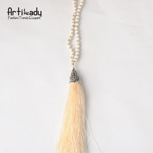 Artilady beads tassels necklace vintage colorful beads women tassels pendant necklace women jewelry for women neckalces
