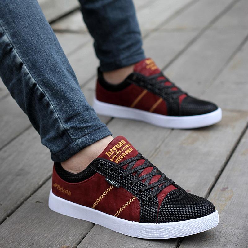Британский стиль осенью новый дышащая настольные обувь скейтборд мужчины скейтбординг обувь исправлены зерно кожа мужчины обувь